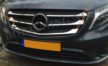 Afbeeldingen van Rvs grill lijsten Mercedes vito w447 2014-2020