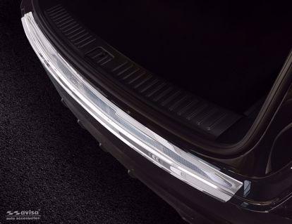 Afbeeldingen van Rvs (gepolijst + zilver  carbon fiber) bumperbescherming Porsche Cayenne 2017- (Performance)
